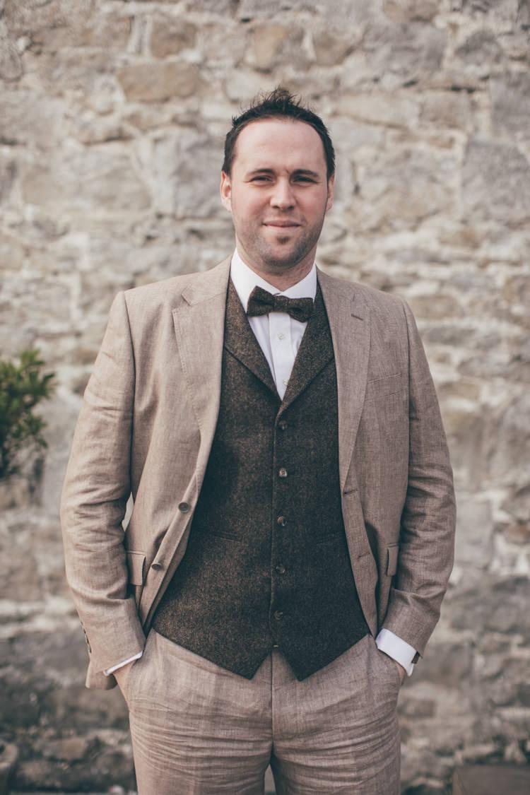 Brown Tweed Suit Waistcoat Bow Tie Groom Natural Earthy Greenery Home Made Wedding http://rachellambertphotography.co.uk/