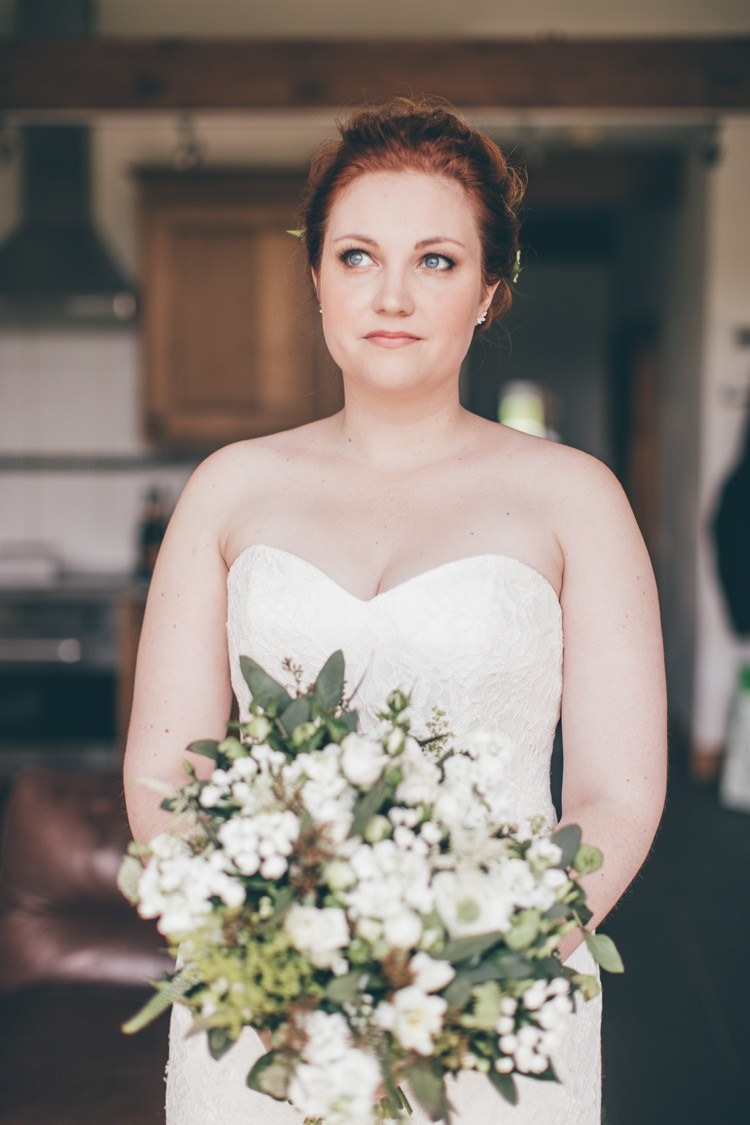 Strapless Lace Dress Gown Bride Bridal Natural Earthy Greenery Home Made Wedding http://rachellambertphotography.co.uk/