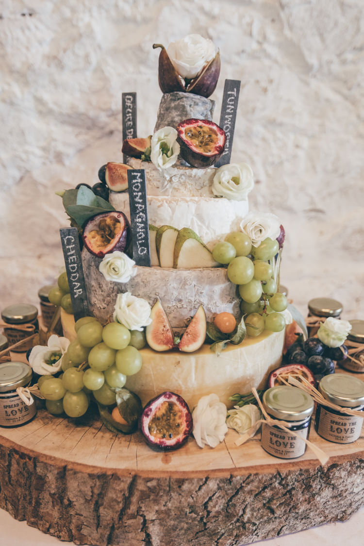 Cheese Stack Tower Cake Fruit Chutney Log Stand Natural Earthy Greenery Home Made Wedding http://rachellambertphotography.co.uk/