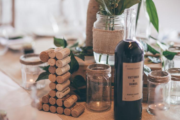 Jars Tables Hessian Rustic Natural Earthy Greenery Home Made Wedding http://rachellambertphotography.co.uk/
