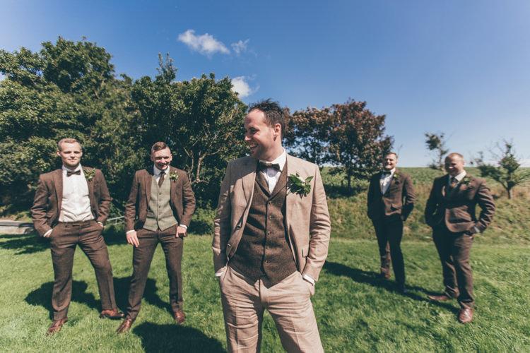 Brown Tweed Suit Bow Tie Groom Groomsmen Natural Earthy Greenery Home Made Wedding http://rachellambertphotography.co.uk/
