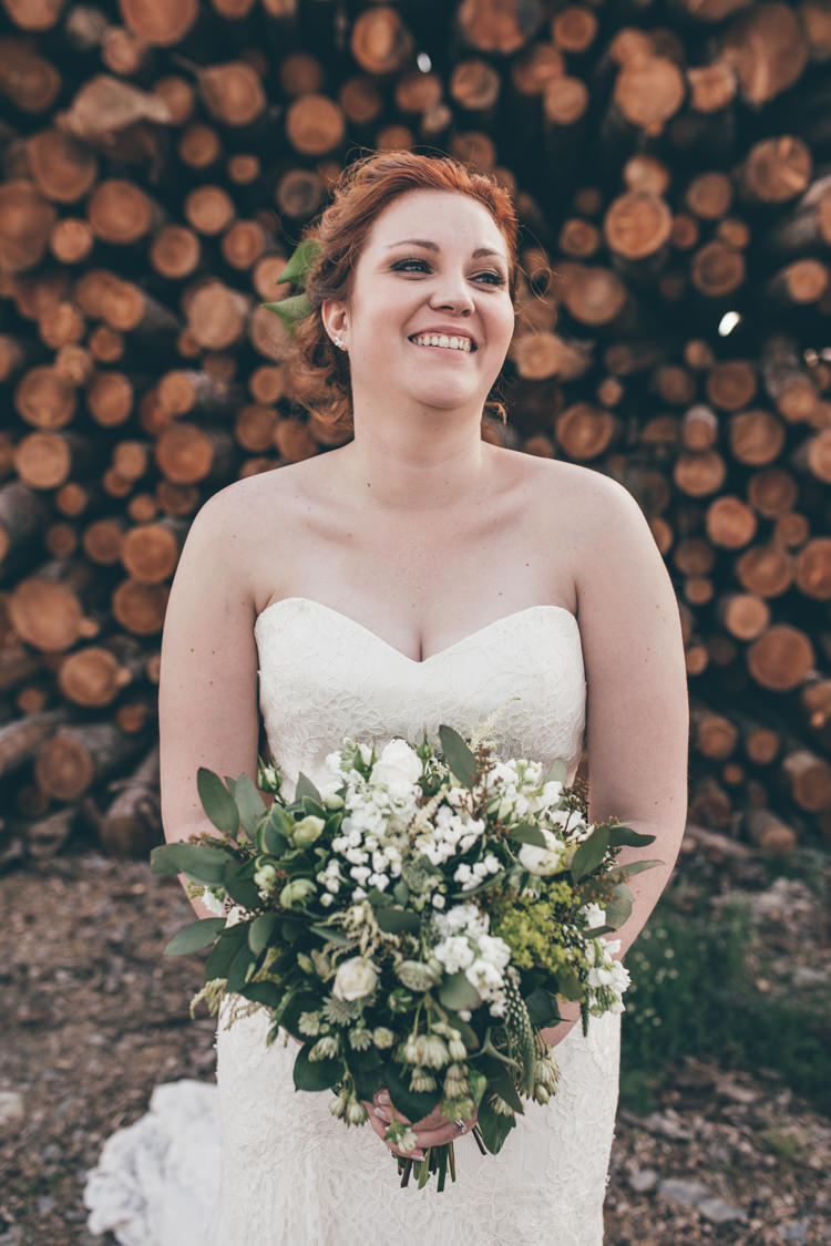 Bride Bridal Strapless Lace Dress Gown Bouquet Foliage Natural Earthy Greenery Home Made Wedding http://rachellambertphotography.co.uk/