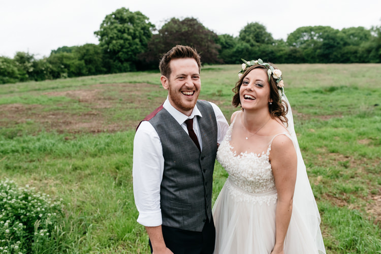 Bride Bridal Dress Gown Watters Sleeveless Flower Floral Crown Bespoke Groom Waistcoat Three Piece Navy Grey Burgundy Relaxed Rustic Country Farm Wedding https://www.chris-seddon.co.uk/