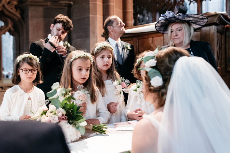 Bride Bridal Veil Watters Dress Gown Flower Floral Crown Flower Girls Relaxed Rustic Country Farm Wedding https://www.chris-seddon.co.uk/
