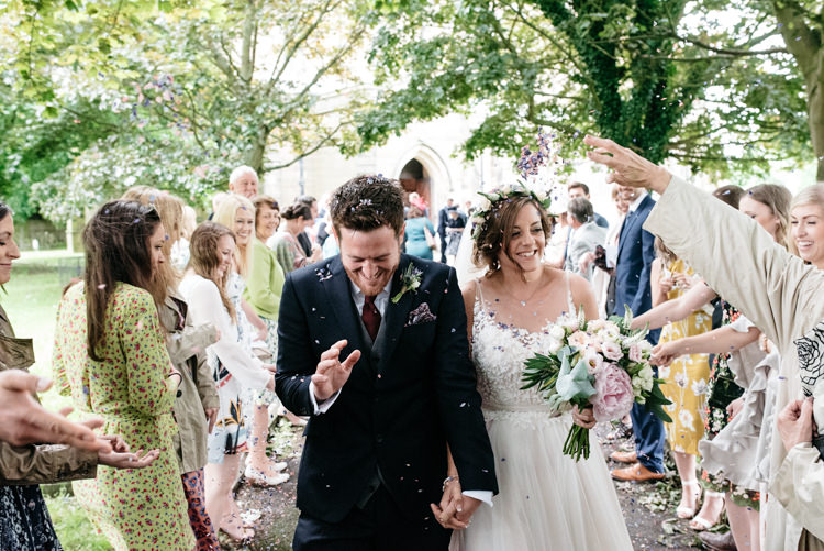 Confetti Bride Bridal Dress Gown Watters Sleeveless Flower Floral Crown Bespoke Groom Waistcoat Three Piece Navy Grey Burgundy Relaxed Rustic Country Farm Wedding https://www.chris-seddon.co.uk/