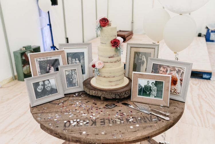 Buttercream Cake Spool Wooden Family Photos Parents Relaxed Rustic Country Farm Wedding https://www.chris-seddon.co.uk/