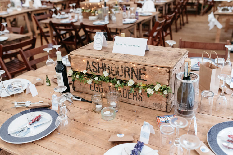 Wooden Table Crate Picnic Hamper Fairy Lights Setting Square Relaxed Rustic Country Farm Wedding https://www.chris-seddon.co.uk/