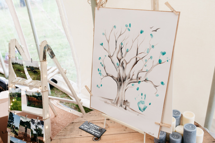Card Table Thumbprint Tree Guest Book Step Ladder Photos Relaxed Rustic Country Farm Wedding https://www.chris-seddon.co.uk/