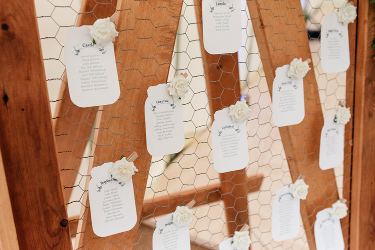 Wooden Frame Chicken Wire Table Plan Seating Chart Tag Relaxed Rustic Country Farm Wedding https://www.chris-seddon.co.uk/