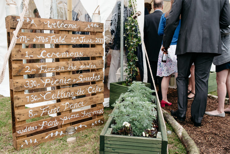Pallet Order of Day Timetable Wooden DIY Relaxed Rustic Country Farm Wedding https://www.chris-seddon.co.uk/