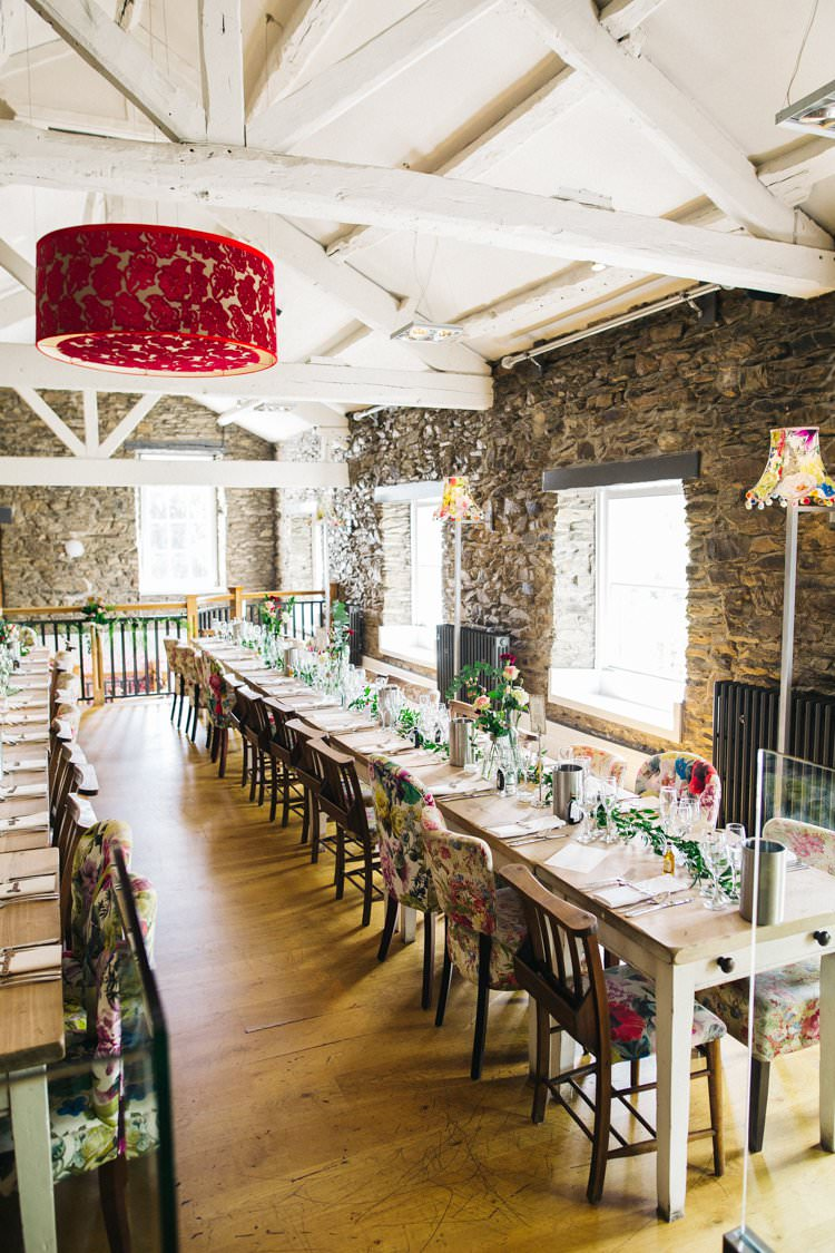 Tablescape Table Setting Flowers Mismatched Chairs Foliage Multicolour Colourful Floral Family Friendly Wedding http://www.sallytphoto.com/