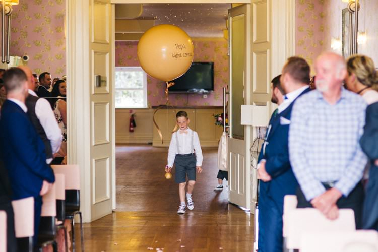 Page Boy Giant Oversize Balloon Modern Calligraphy Colourful Floral Family Friendly Wedding http://www.sallytphoto.com/