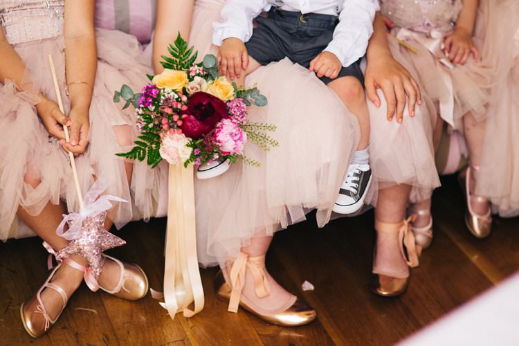 Flower Girls Bridesmaids Ballet Shoes Gold Tulle Bouquet Peony Rose Fern Colourful Floral Family Friendly Wedding http://www.sallytphoto.com/