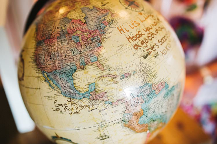 Guest Book Globe Colourful Floral Family Friendly Wedding http://www.sallytphoto.com/
