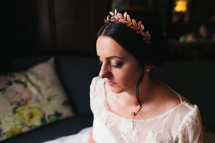 Hair Piece Rose Gold Leaf Crown Up Do Lace Three Quarter Length Sleeve Dress Bride Bridal Gown Colourful Floral Family Friendly Wedding http://www.sallytphoto.com/