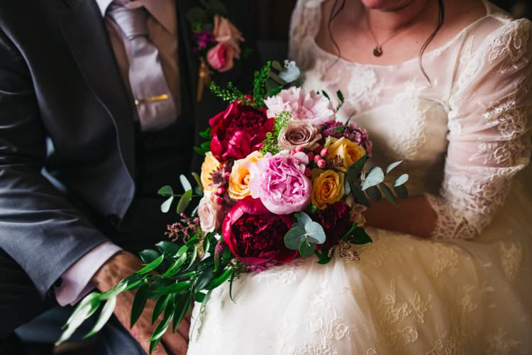 Bride Bridal Bouquet Jewel Tones Multicolour Foliage Peony Rose Colourful Floral Family Friendly Wedding http://www.sallytphoto.com/