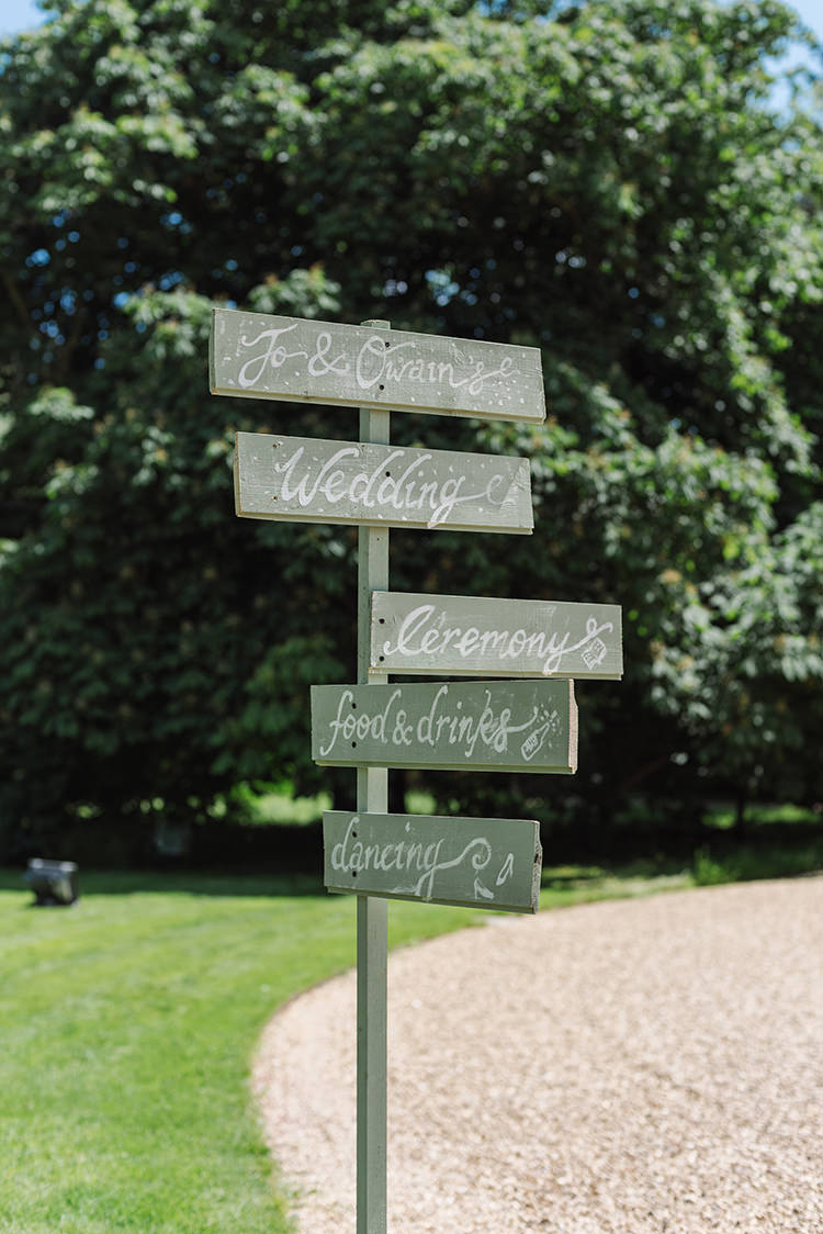 Painted Wedding Sign Post Darling Peach Sage Green Grey Farm Wedding http://www.photographybybea.co.uk/