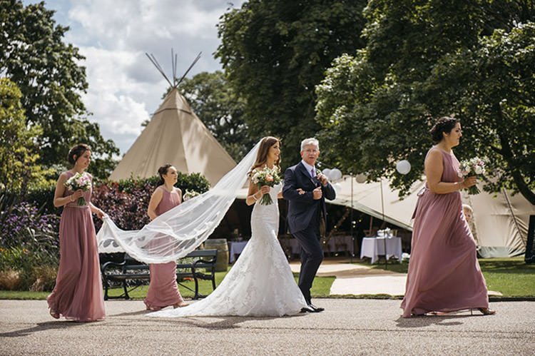 Bride Bridal Cathedral Veil Sweetheart Neckline Fishtail Blush Pink Grecian Dress Gown Pretty Floral Boho Tipi Wedding https://www.kindredphotography.co.uk/