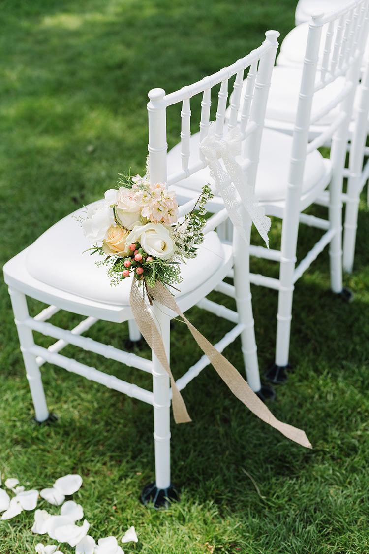 Chair Flowers Petals Aisle Ceremony Darling Peach Sage Green Grey Farm Wedding http://www.photographybybea.co.uk/