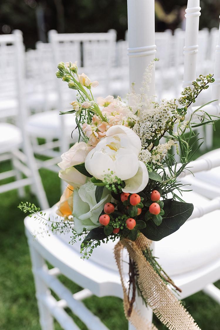 Chair Flowers Decor Peony Rose Hessian Burlap Pew End Darling Peach Sage Green Grey Farm Wedding http://www.photographybybea.co.uk/