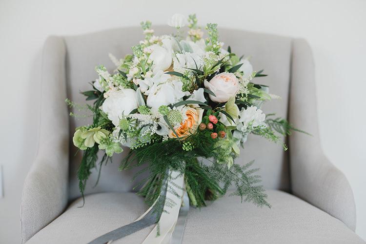 Bouquet Flowers Bride Bridal Rose Peony Darling Peach Sage Green Grey Farm Wedding http://www.photographybybea.co.uk/