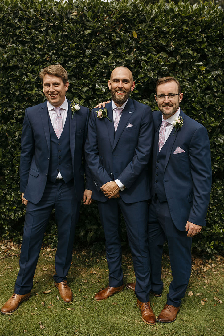 Groom Groomsmen Navy Three Piece Suit Waistcoat Pink Tie Pretty Floral Boho Tipi Wedding https://www.kindredphotography.co.uk/