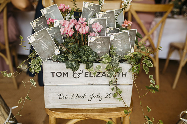 Table Plan Crate Florals Flowers Seating Chart Ivy Pretty Floral Boho Tipi Wedding https://www.kindredphotography.co.uk/