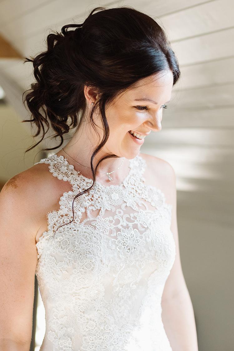 Lace Halternek Dress Gown Bride Bridal Darling Peach Sage Green Grey Farm Wedding http://www.photographybybea.co.uk/