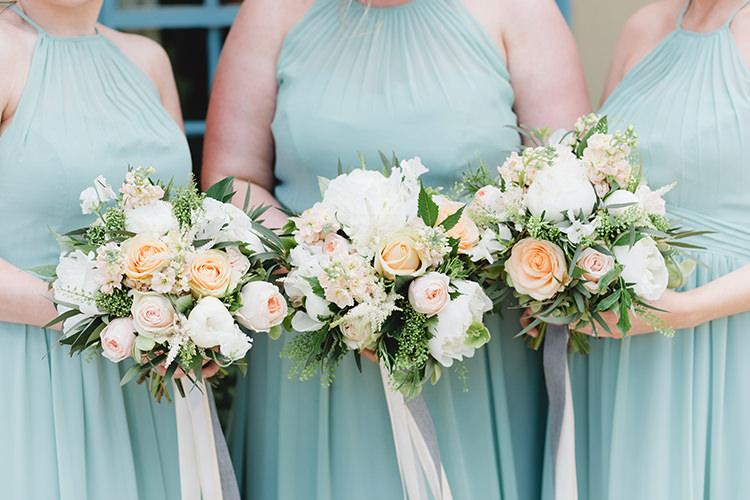Bouquets Bridesmaids Ribbon Roses Darling Peach Sage Green Grey Farm Wedding http://www.photographybybea.co.uk/