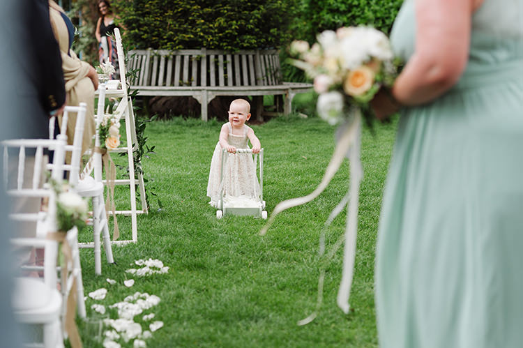 Flower Girl Trolley Darling Peach Sage Green Grey Farm Wedding http://www.photographybybea.co.uk/