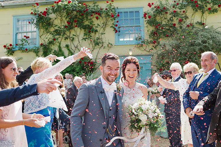 Confetti Throw Darling Peach Sage Green Grey Farm Wedding http://www.photographybybea.co.uk/