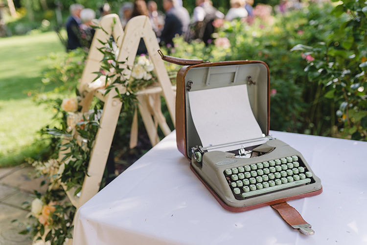 Type Writer Guest Book Darling Peach Sage Green Grey Farm Wedding http://www.photographybybea.co.uk/