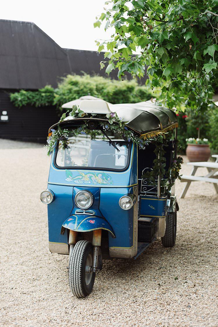 Tuk Tuk Transport Darling Peach Sage Green Grey Farm Wedding http://www.photographybybea.co.uk/