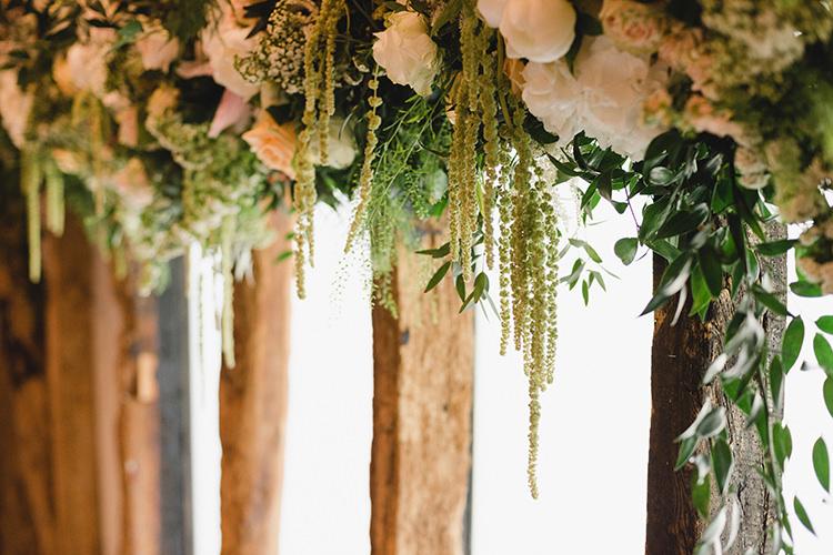 Hanging Flowers Swag Garland Darling Peach Sage Green Grey Farm Wedding http://www.photographybybea.co.uk/