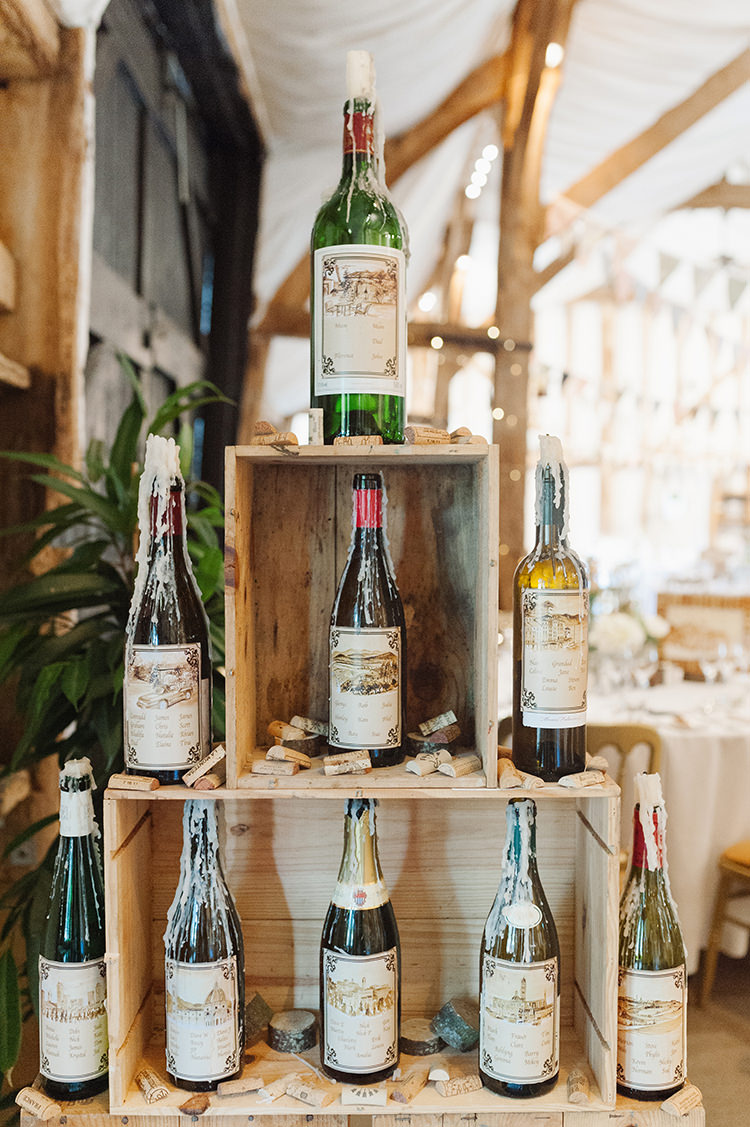 Wine Bottle Candles Seating Plan Table Chart Darling Peach Sage Green Grey Farm Wedding http://www.photographybybea.co.uk/