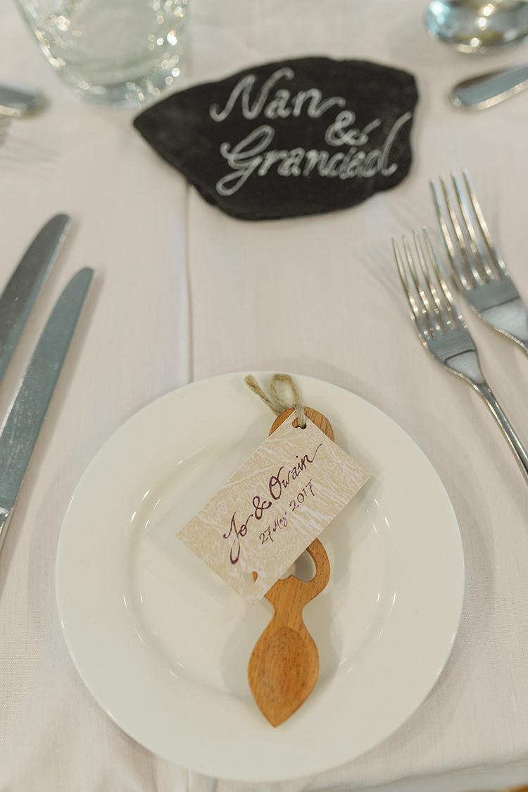 Welsh Spoon Favours Darling Peach Sage Green Grey Farm Wedding http://www.photographybybea.co.uk/