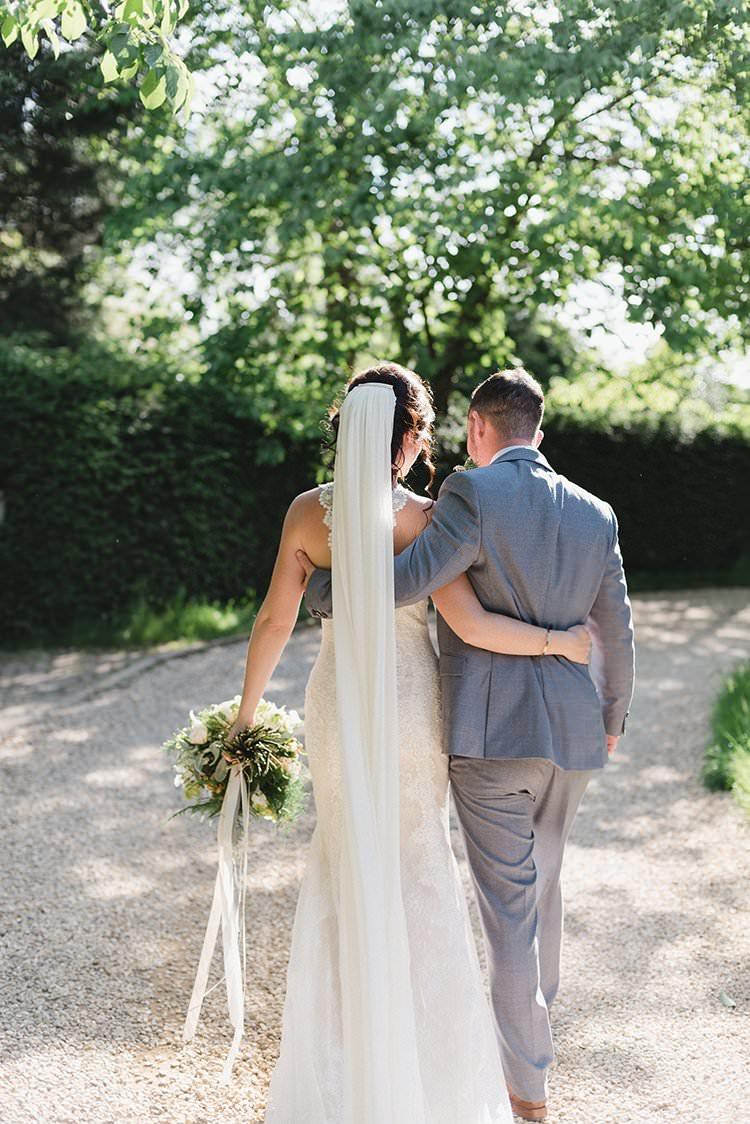 Long Cathedral Veil Bride Bridal Darling Peach Sage Green Grey Farm Wedding http://www.photographybybea.co.uk/ http://www.photographybybea.co.uk/