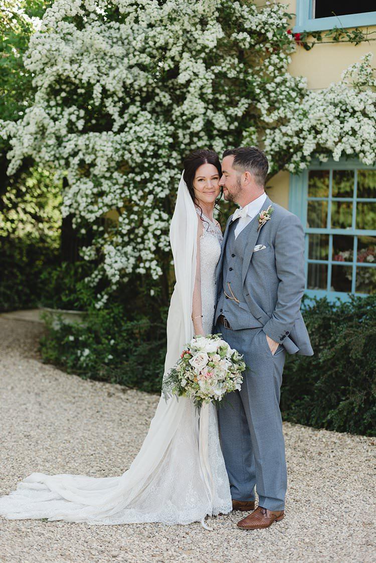 Grey Suit Bow Tie Groom Darling Peach Sage Green Grey Farm Wedding http://www.photographybybea.co.uk/