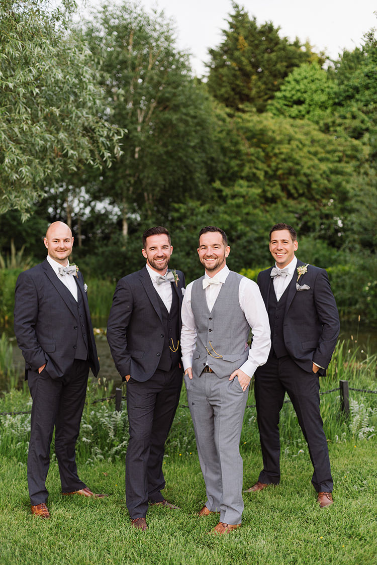 Grey Suits Bow Ties Groom Groomsmen Waistcoat Best Man Darling Peach Sage Green Grey Farm Wedding http://www.photographybybea.co.uk/