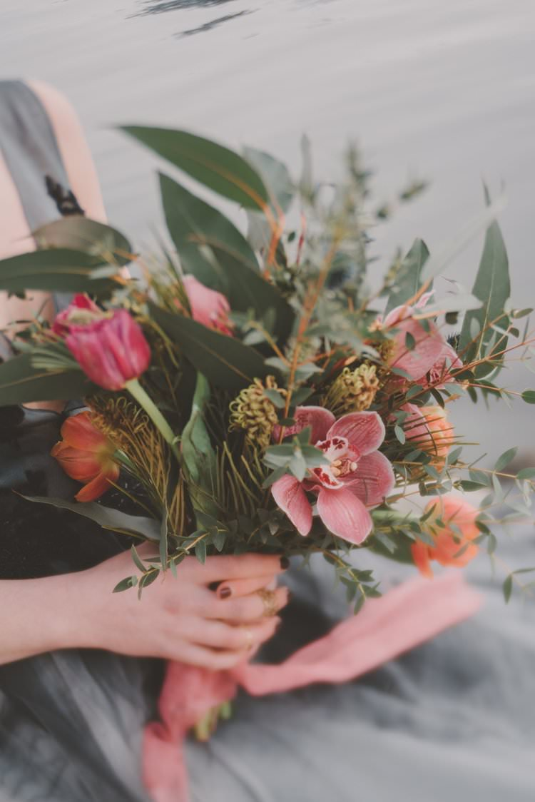 Bride Bouquet Pink Peach Orchid Tulip Norway Mountain Elopement | Moody Chic Norwegian Fjord Wedding Ideas https://www.anoukfotografeert.nl/