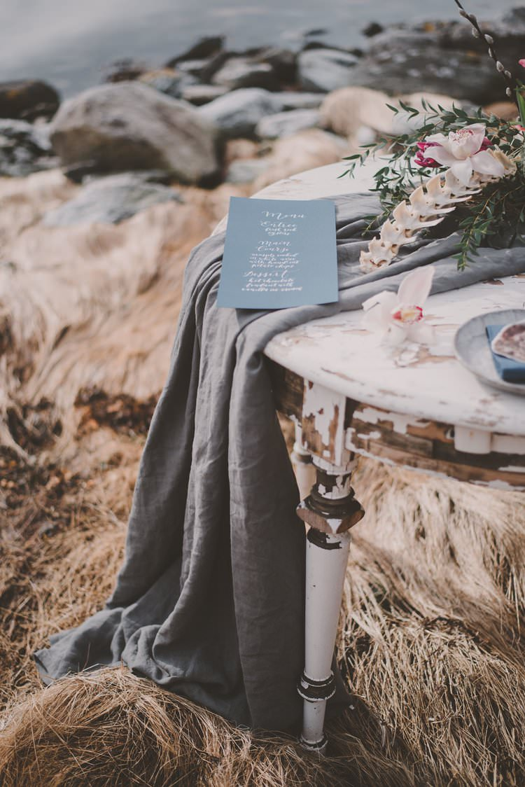 Table Runner Grey Blue Menu Bone Norway Mountain Elopement | Moody Chic Norwegian Fjord Wedding Ideas https://www.anoukfotografeert.nl/