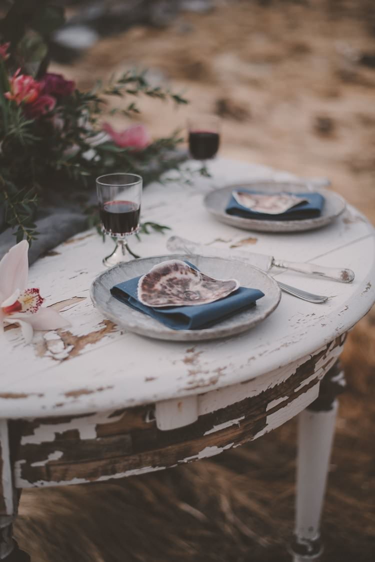 Table Grey Blue Shell Minimalist Flower Centerpiece Norway Mountain Elopement | Moody Chic Norwegian Fjord Wedding Ideas https://www.anoukfotografeert.nl/