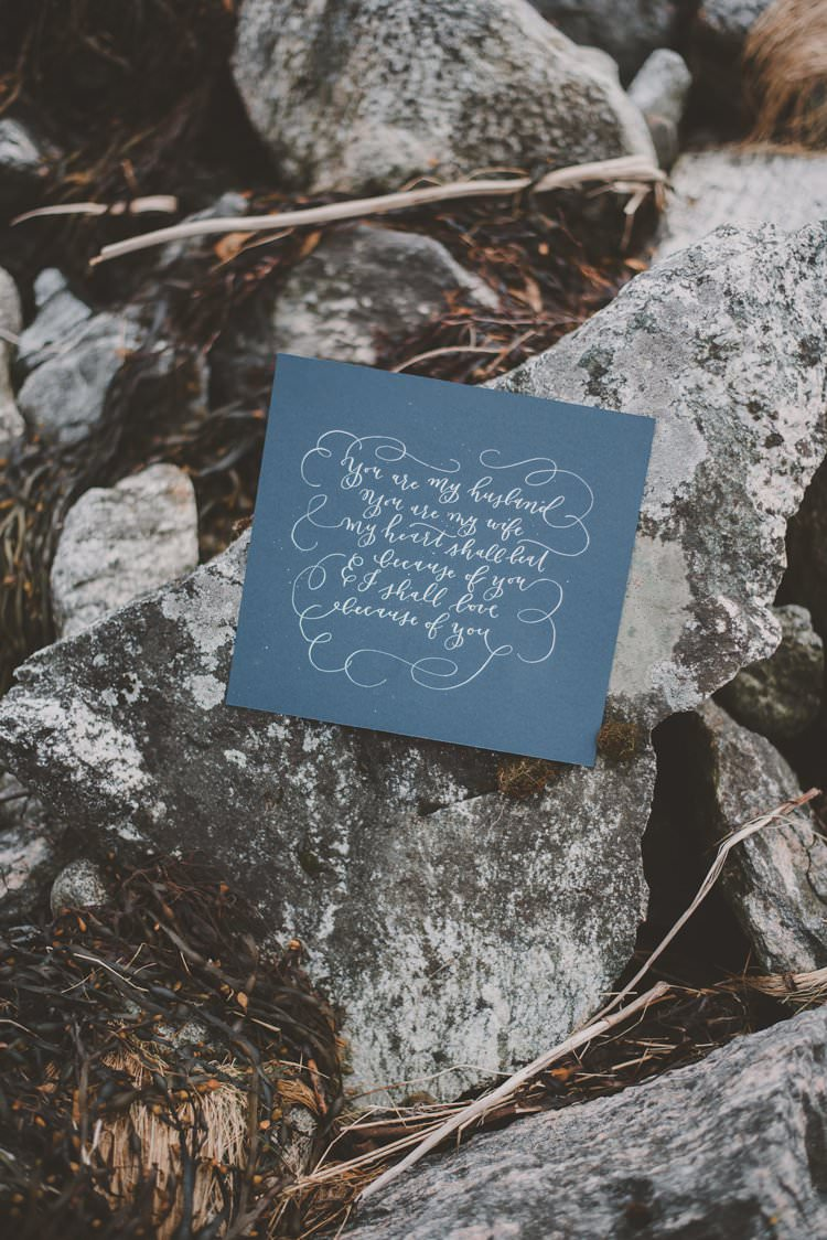 Calligraphy Quote Vow Letter Minimalist Norway Mountain Elopement | Moody Chic Norwegian Fjord Wedding Ideas https://www.anoukfotografeert.nl/