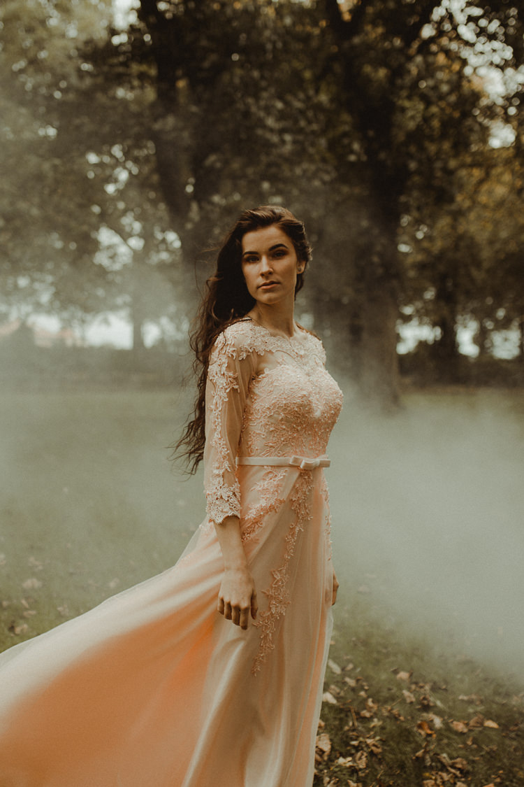 Vintage Dress Gown Bride Bridal  Pink Blush Moody Ethereal Winter Woodland Wedding Ideas http://belleartphotography.co.uk/