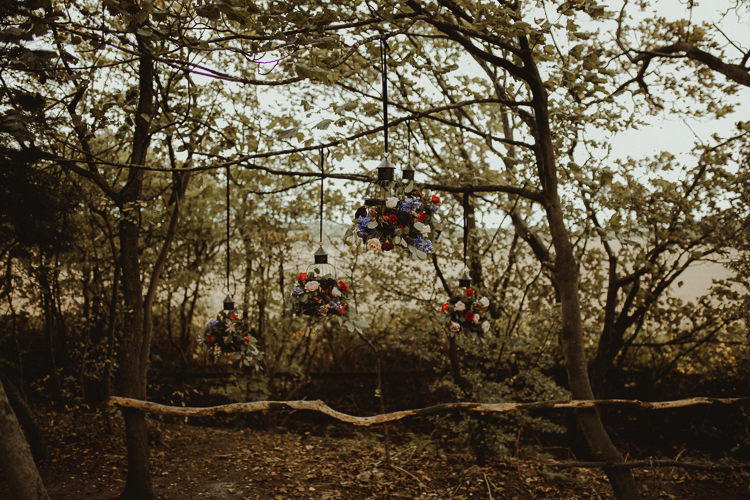 Hanging Flowers Wild Natural Black Red Greenery  Moody Ethereal Winter Woodland Wedding Ideas http://belleartphotography.co.uk/