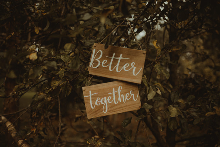 Wooden Sign Better Together Moody Ethereal Winter Woodland Wedding Ideas http://belleartphotography.co.uk/