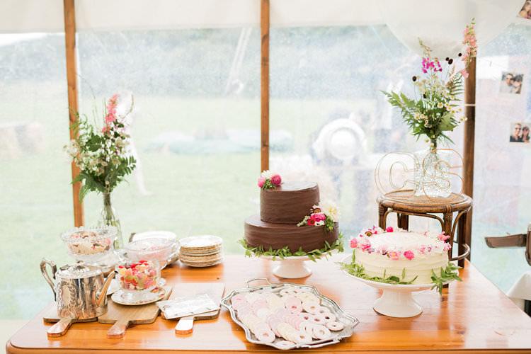Cake Table Fun Late Summer Outdoor Farm Wedding http://bowtieandbellephotography.co.uk/