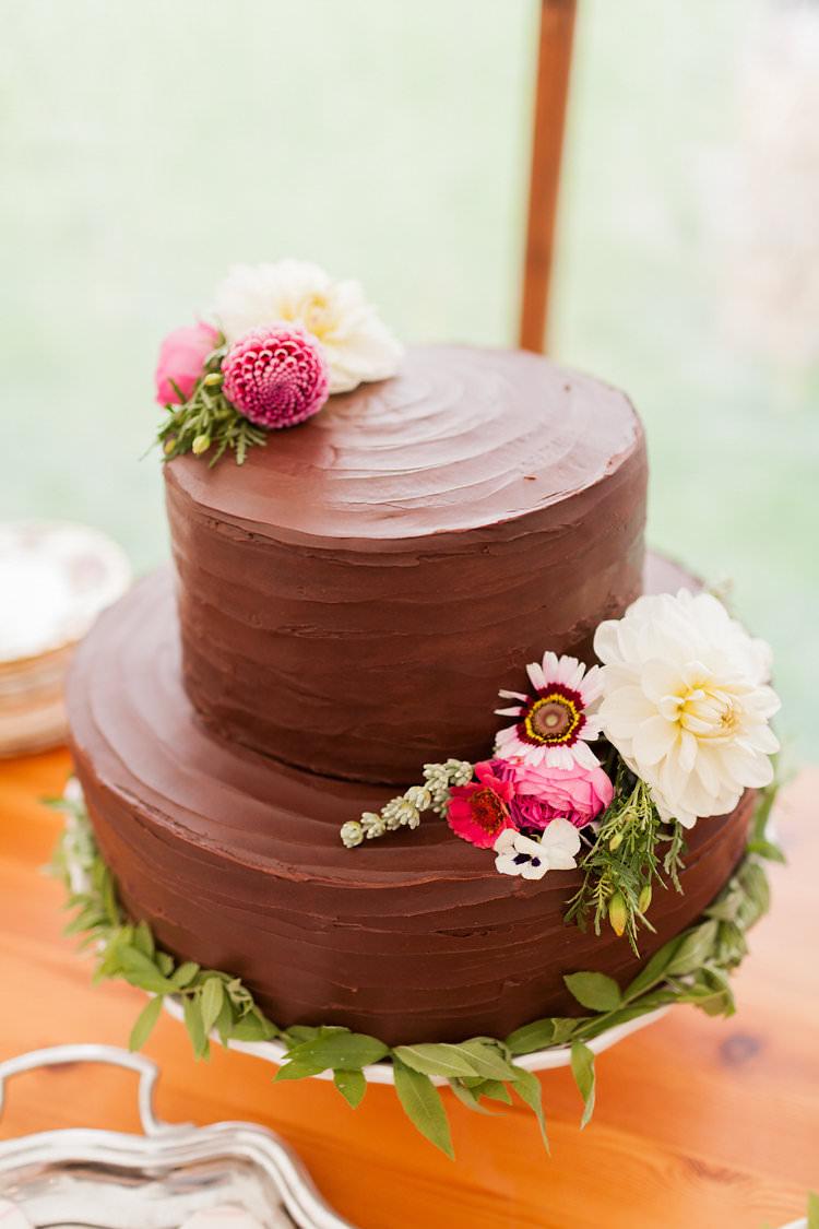 Chocolate Buttercream Icing Flower Cake Fun Late Summer Outdoor Farm Wedding http://bowtieandbellephotography.co.uk/