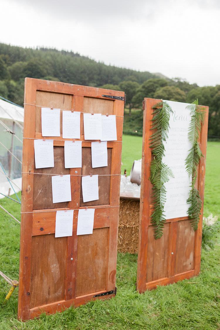 Antique Door Seating Plan Table Chart Fun Late Summer Outdoor Farm Wedding http://bowtieandbellephotography.co.uk/