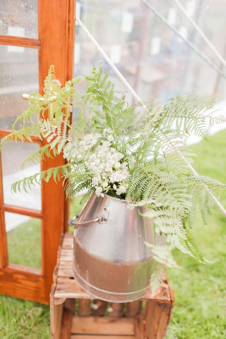 Ferns Decor Flowers Bucket Fun Late Summer Outdoor Farm Wedding http://bowtieandbellephotography.co.uk/